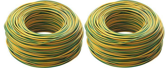 cavi elettrici di colore giallo verde per messa a terra