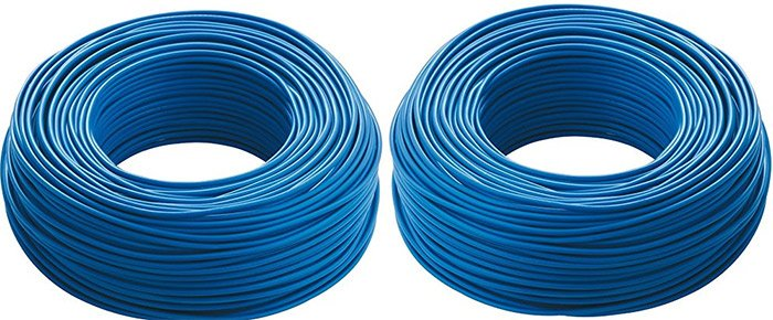 cavi elettrici di colore blu